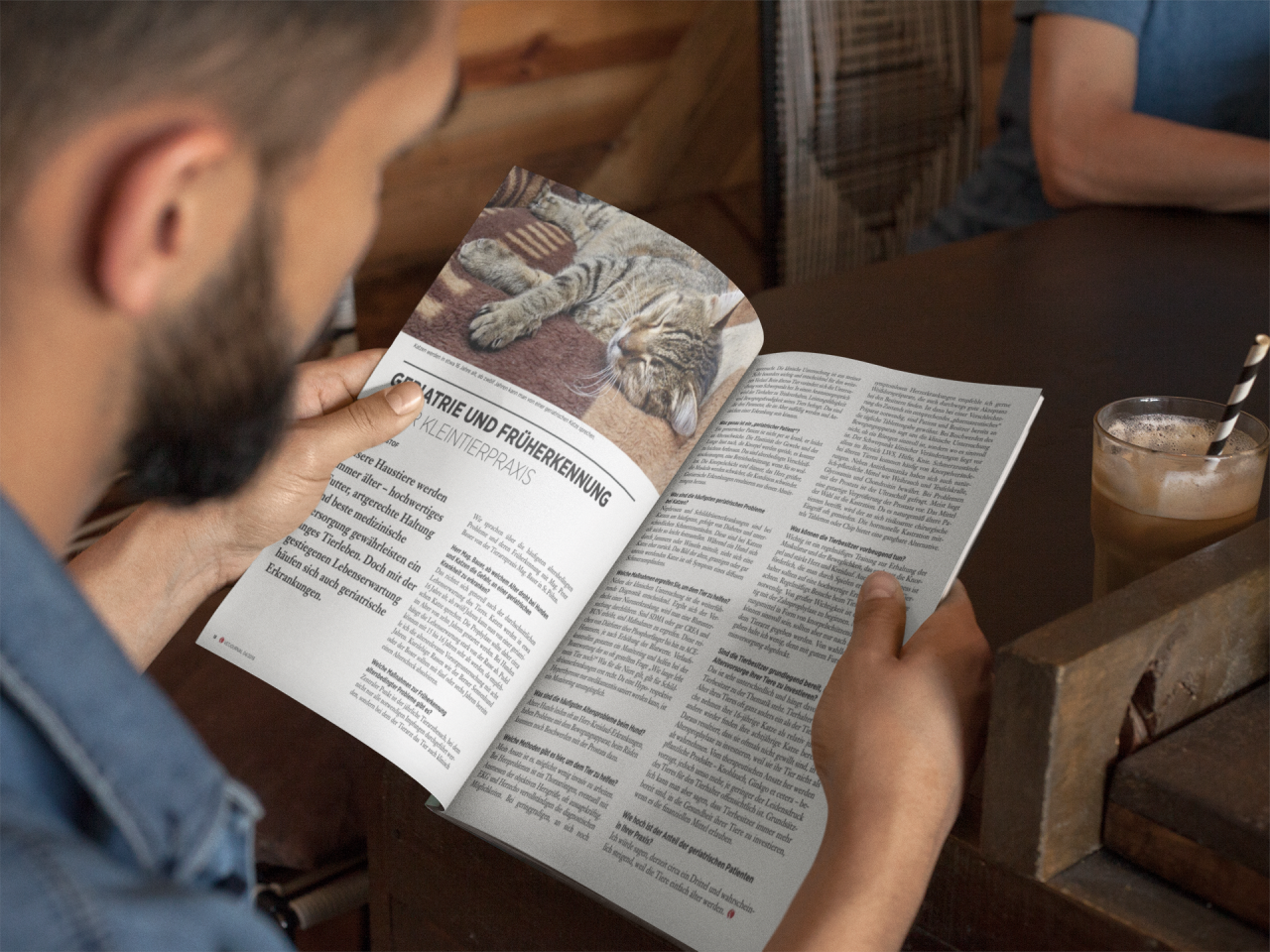 latino-model-at-a-coffee-shop-reading-a-magazine-template-a14447